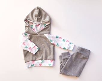Baby Girl Bow Hoodie Set, Infant pink white a d green bow hoodie woth grey pants. Baby shower gift.