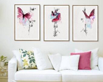 Butterfly Decor Room Butterfly Wall Art Room Butterfly Art Print  Butterfly Decor Room Butterfly Gift Idea  Butterfly Set 3 Butterfly