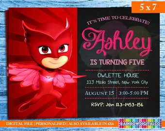 Owlette Invitation, Owlette, PJ Masks Invites, Pj Masks Invitation, Owlette birthday invitation, PJ mask party, PJ Birthday Printables