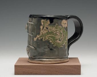 Handmade handbuilt hand glazed stoneware ceramic big coffee mug tea cup great Valentine gift