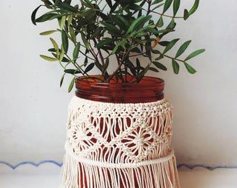 Macrame Vase, Flower Vase Decor, Hurricane Candle Holder, Wedding Candle Holders, Macrame Holder, Macrame Candle Holder, Vase, Candle Holder