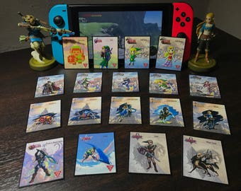 MINI Zelda Amiibo Cards (18) - Mini NFC Tag Cards (BotW, SSB, 30th Anniversary, Fierce Deity, Skyward)