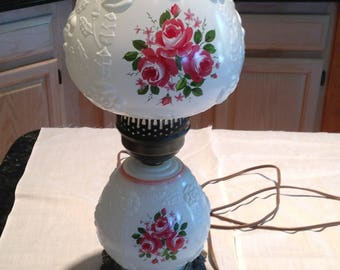 Vintage white lamp with roses