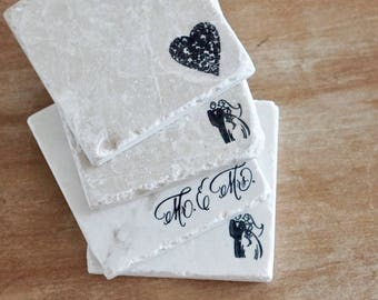Engagement Coasters// Wedding Coasters// Engagement Gift// Wedding Gift// Stamped Tumbled Marble Coaster// Marble Coaster