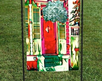 "French Quarter Red Door Garden Flag, New Orleans, Red Green Yellow, heat set, hand sewn, 12""x18"""