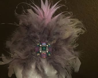Mauve and Taupe Fascinator with Brooch