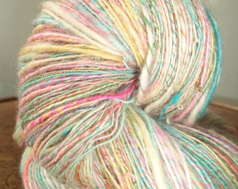 """""""Marshmallow""""skeins of dyed wool by myself and spun to spinning wheel"""