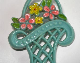 Vintage Flower Basket Brooch Retro Kitsch Early Plastic