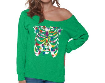 Ribcage Off Shoulder Sweatshirt for Women Colorful Ribcage Shirt Skull Off The Shoulder Baggy Sweatshirts Day of the Dead Painted Ribcage