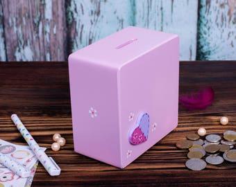 Handmade wooden money box / Baby shower Gift