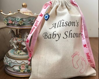 Personalized Baby Shower Pouch, Baby Shower Decorations, Baby Shower Party, Girl Baby Shower, Cotton Bags, Cotton Bag Drawstring