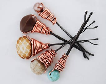 10 PIECE SPECIFIC ORDER- Boho Beaded Bobby Pins
