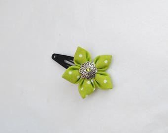 Green white dot fabric flower hair clip
