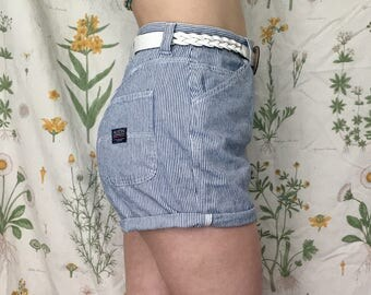 Vintage 80s White and Navy Pinstripe Shorts