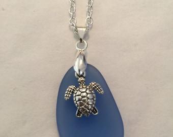 """Sea Glass Sea Turtle Necklaces 18"""""""