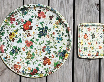 60s Vintage Daher Decorated Ware Serving Tray Set