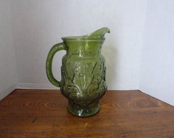 Vintage Anchor Hocking Green Floral-Embossed-Large-Glass-Pitcher