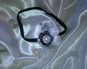 head band or headband with flower made with beads purple, white and pink satin ribbon