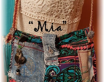 Hippy BoHo Handsewn Upcycled Crossbody Bag Antique Barkcloth, Velvet, Beads, Signed, Numbered, Named ..this is Mia #003 OOAK