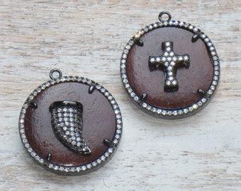 Pave CZ Horn Wood Gunmetal Pendant, Pave Horn or Cross Pendant, Horn Charm, Pave Cross Pendant