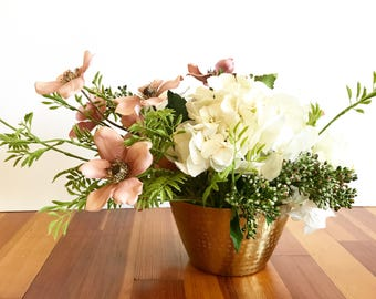 Flower arrangement with Cream Hydrangea and Dusty Pink Dogwood Blooms