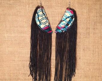 Leather, Waxcloth & Fringe Earrings