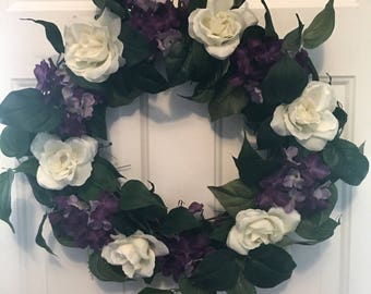Ivory and Purple floral wreath