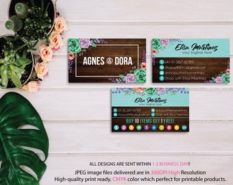 Agnes Dora Business Cards, Agnes and Dora Punch Card, PERSONALIZED Agnes Dora CardS, Agnes Dora Marketing, Wooden Background, Printable AG09