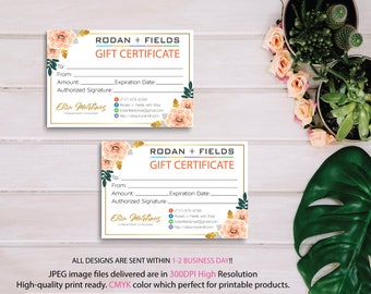 Rodan and Fields Gift Certificate, Fast Personalized, Rodan + Fields Gift Cards, Rodan and Fields Business Cards, Digital files RF11