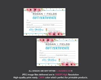 Rodan and Fields Gift Certificate, Fast Personalized, Rodan + Fields Gift Cards, Rodan and Fields Business Cards, Digital files RF17
