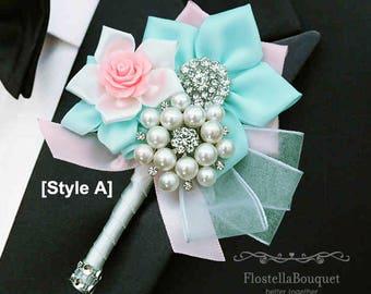 Mint & Pink, Wedding boutonniere, Groom, Groomsmen, Father, Fabric boutonniere, Brooch boutonniere, Prom boutonniere