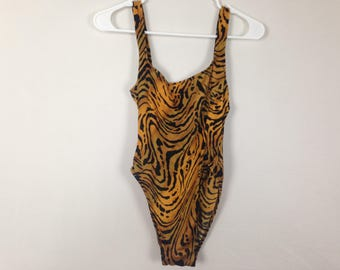 Brown and black wavy print one piece swimsuit size M