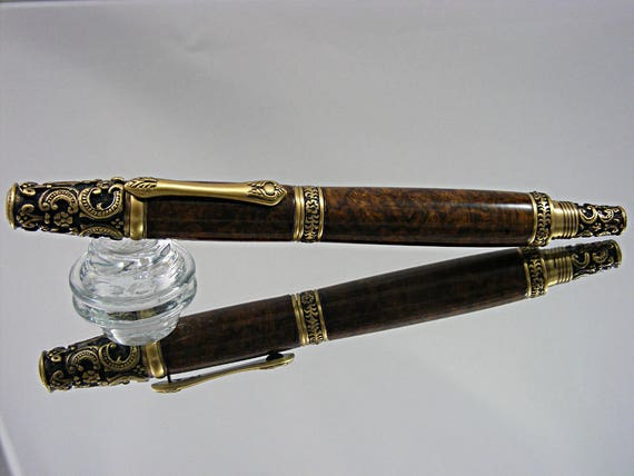 Victorian Fountain Pen in Antique Brass and Mallee Burl