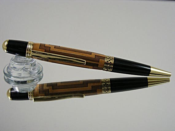 Handcrafted Inlayed Pen in 24k Gold and a Cross Inlay
