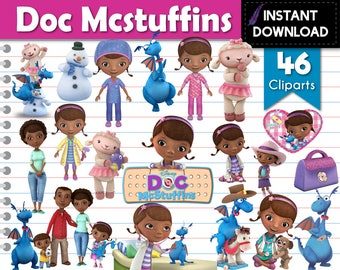 Instant Download - Doc Mcstuffins Cliparts Transparent Backgrounds PNG DIY Printable Party Supplies and Scrapbooking - Digital Files