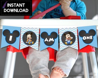 Instant Download - Baby Mickey Mouse High Chair First Birthday Party I Am One Banner Bunting Printable DIY - Digital File