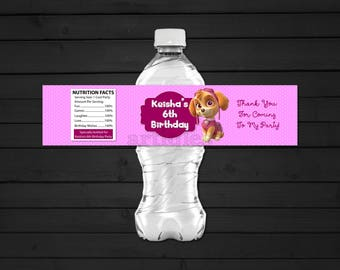 Personalized Skye Paw Patrol Water Bottle Label Birthday Party Pink Polka Dots Printable DIY - Digital File