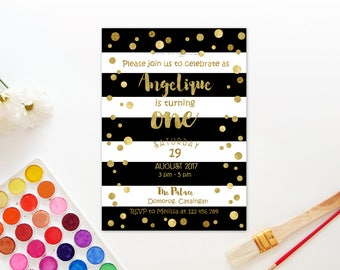 Personalized Gold Confetti First 1st Birthday Invitation Baby Shower Invite Black and White Stripes Party Printable DIY - Digital File