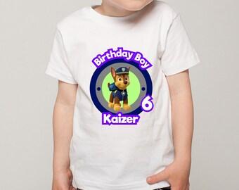 Personalized Paw Patrol Chase Tee Shirt Tshirt Image Iron On Transfer Heat Press Birthday Boy Birthday Party Printable DIY - Digital File