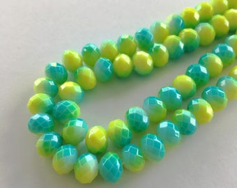 8mm Rondelle Faceted Painted Crystal Glass Beads (Lemon Green + Cyan Blue Sprayed) - 40 pieces