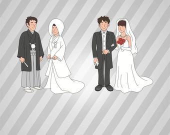 Japanese Wedding Silhouette Bride and Groom - Svg Dxf Eps Silhouette Pdf Png AI Files Digital Cut Vector File Svg File Cricut Laser Cut