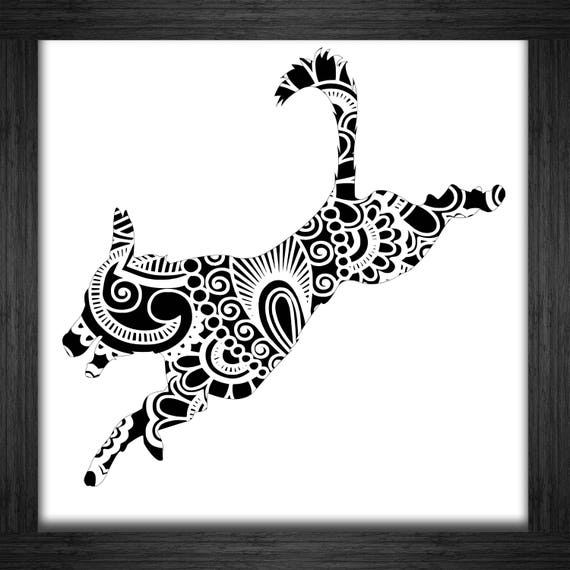 Jumping Dog Papercut Template Mandala Henna - Svg Paper Cut ...