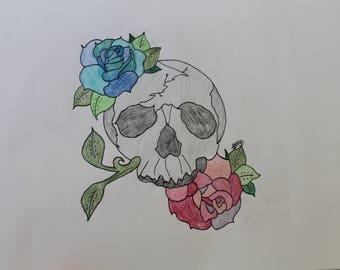 skull and rose drawing