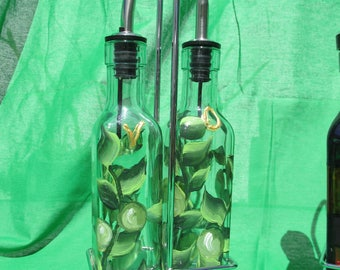 Oil and vinegar set with metal carrier