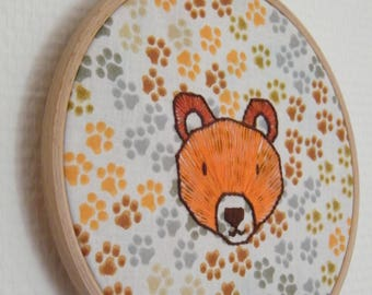 Orange bear embroidery