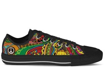 Men's Low Top Sneaker with Colorful Print, Peace Symbol and Black Soles 'Peace of Color' - Multicolored/Black