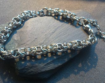 Handmade Silver Chainmaille Byzantine Weave Adjustable Bracelet for Ladies