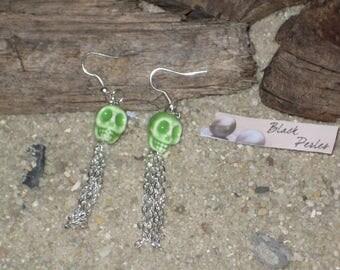 Green ceramic skull earrings