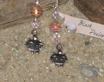 Earrings Murano glass pearl and cat charm