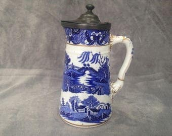 Antique Willow Pattern Coffee Pot with Pewter lid. Made late 1800s by Grainger &Co. (later became Wedgewood)